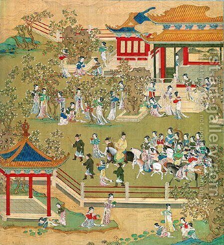 Emperor Yang Ti (581-618) strolling in his gardens with his wives, from a history of Chinese emperors 2 by Anonymous Artist - Reproduction Oil Painting