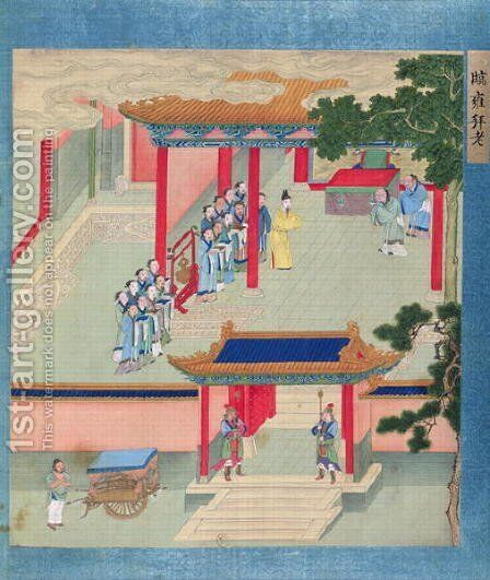 Emperor Ming Ti (r.57-75 AD) bestowing honours on two aged men, from a history of Chinese emperors by Anonymous Artist - Reproduction Oil Painting