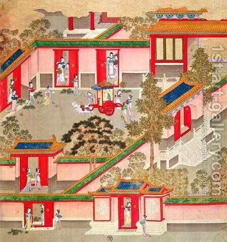 Emperor Wu Ti (156-87, r.141-87 BC), leaving his palace, from a history of Chinese emperors by Anonymous Artist - Reproduction Oil Painting