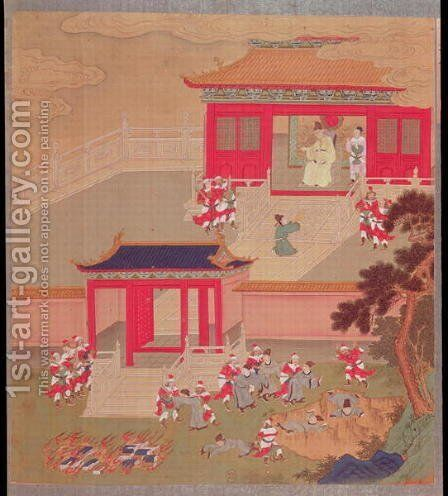 Emperor Ch'in Wang Ti (r.221-210 BC) abolishing feudalism, from a history of Chinese emperors by Anonymous Artist - Reproduction Oil Painting