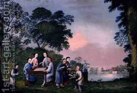 Figures Playing a Boardgame, c.1790 by Anonymous Artist - Reproduction Oil Painting
