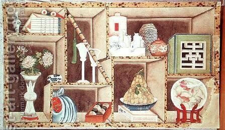 Trompe l'Oeil of Chinese Objects by Anonymous Artist - Reproduction Oil Painting