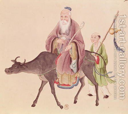 Lao-Tzu (c.604-531) on his buffalo, followed by a disciple by Anonymous Artist - Reproduction Oil Painting