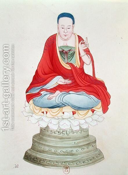 Buddha seated on a lotus flower by Anonymous Artist - Reproduction Oil Painting