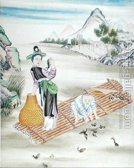 Chinese using cormorants to catch fish by Anonymous Artist - Reproduction Oil Painting