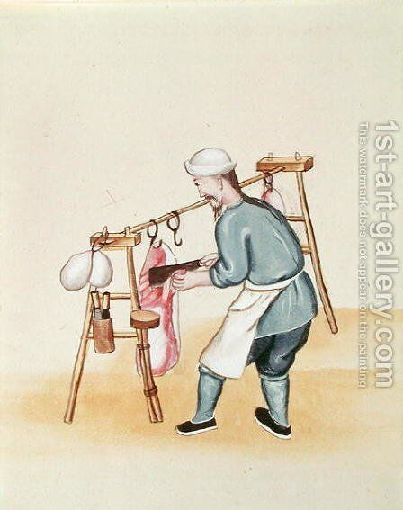 The Meat Seller, from a book on the street calls of Peking, c.1785 by Anonymous Artist - Reproduction Oil Painting