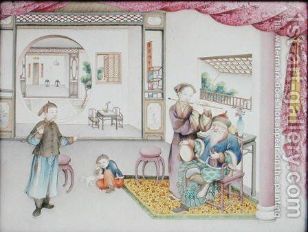 Imperial Canton panel, Qianlong period, 1736-95 by Anonymous Artist - Reproduction Oil Painting