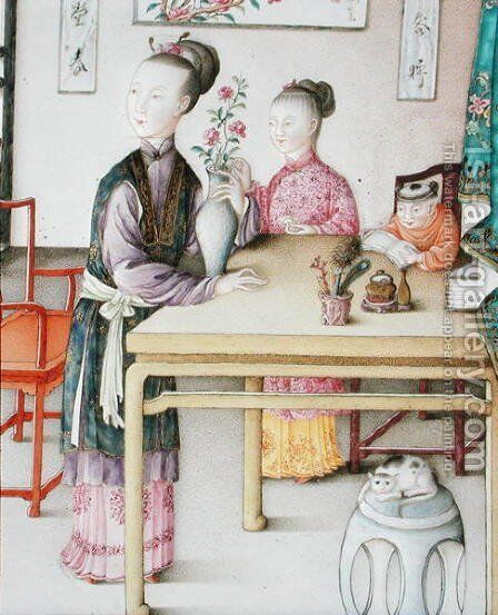 Detail from imperial Canton panel, Qianlong period, 1736-95 by Anonymous Artist - Reproduction Oil Painting