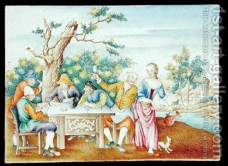 A famille rose plaque, c.1740 by Anonymous Artist - Reproduction Oil Painting