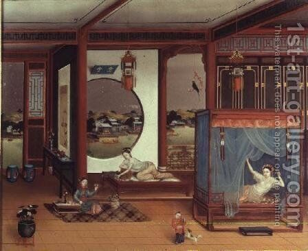 Scene of an interior by Anonymous Artist - Reproduction Oil Painting