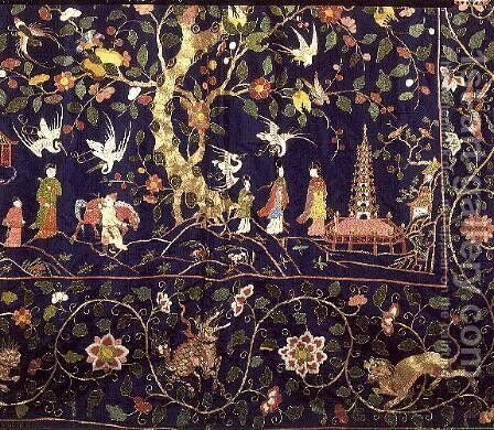 Embroidered hangings from the State Bed at Calke Abbey (detail) by Anonymous Artist - Reproduction Oil Painting