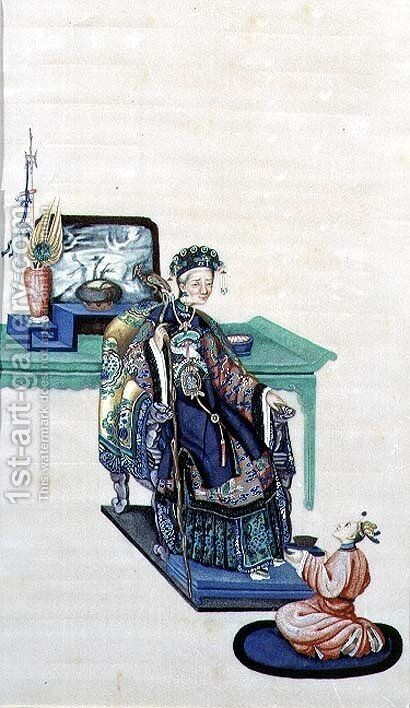 Old Woman Seated with a Kneeling Servant by Anonymous Artist - Reproduction Oil Painting