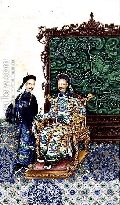 Emperor Seated with a Man by Anonymous Artist - Reproduction Oil Painting