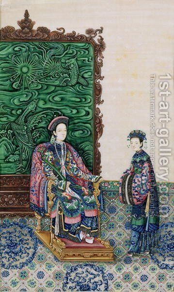 Empress Seated with a Lady by Anonymous Artist - Reproduction Oil Painting