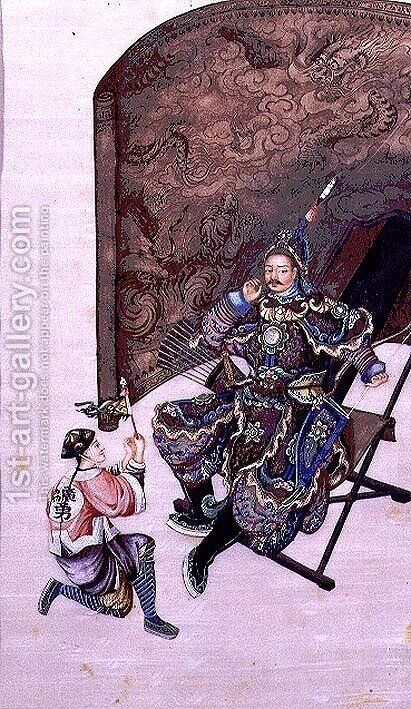 Seated Warrior with a Soldier by Anonymous Artist - Reproduction Oil Painting