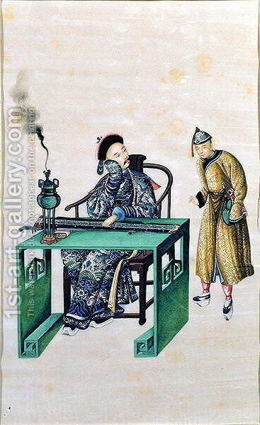 Man with a Long Zither at a Table, with a Servant by Anonymous Artist - Reproduction Oil Painting