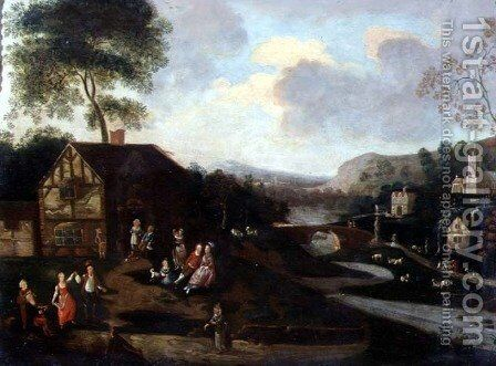Figures Dancing and Merrymaking, a Village, Kermesse in a river landscape by Anonymous Artist - Reproduction Oil Painting