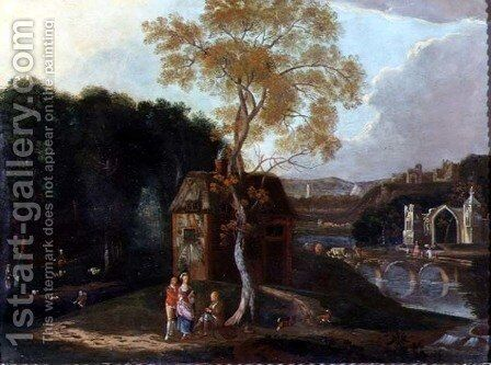 A Chinaman and Other Figures in a Capriccio River Landscape by Anonymous Artist - Reproduction Oil Painting
