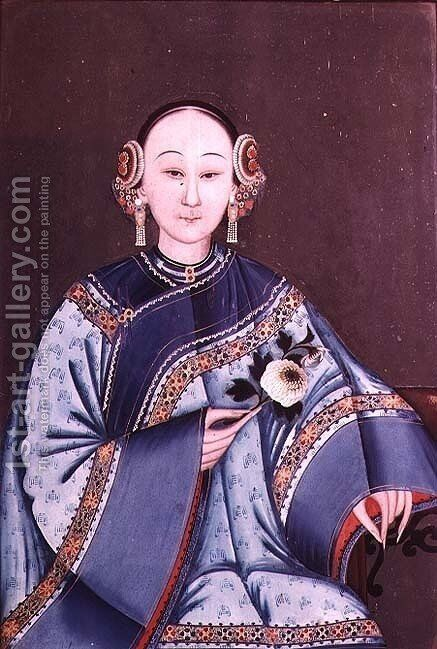 Chinese woman in traditional costume holding a single flower by Anonymous Artist - Reproduction Oil Painting