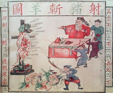 'Je Su, the Pig, is put to death', propaganda against the foreigners by Anonymous Artist - Reproduction Oil Painting