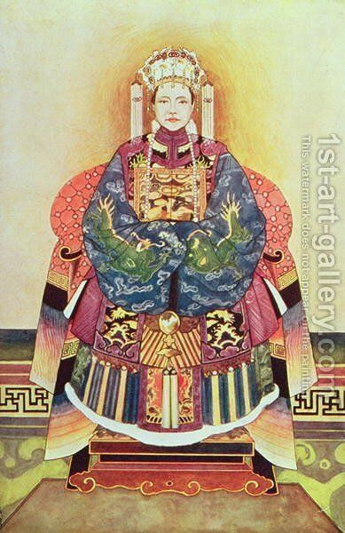 Portrait of Tzu Hsi, the Empress Dowager (1835-1908) by Anonymous Artist - Reproduction Oil Painting
