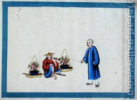 Old flower seller smoking a pipe, 1850s by Anonymous Artist - Reproduction Oil Painting