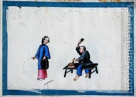 Noblewoman with a tradesman, 1850s by Anonymous Artist - Reproduction Oil Painting