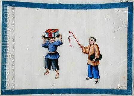 Man carrying books on his head, 1850s by Anonymous Artist - Reproduction Oil Painting