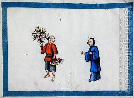 Flower seller approached by a noblewoman, 1850s by Anonymous Artist - Reproduction Oil Painting