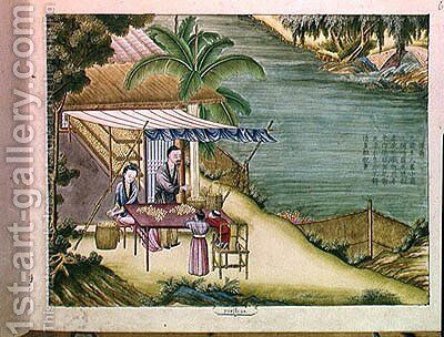 Sorting the Cocoons, from a book on the silk industry by Anonymous Artist - Reproduction Oil Painting