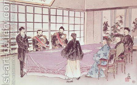 The Japanese ministers I-Tso and Mou-Tsou discuss with the Chinese envoy Ri-Ko-Sho the conditions of the Shimonoseki truce, 16th April 1895 by Anonymous Artist - Reproduction Oil Painting