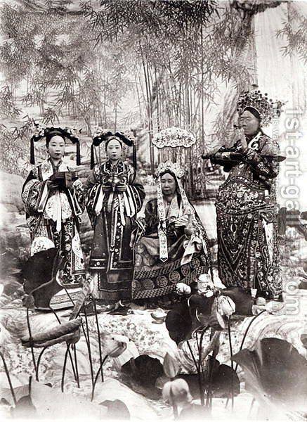Portrait of Tz'U-Hsi (1835-1908) Empress Dowager of China accompanied by two maids of honour and a guard by Anonymous Artist - Reproduction Oil Painting