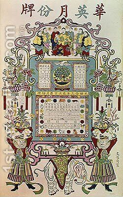Calendar for Year 23 of the Reign of Emperor Guang Xu (1872-1908) 1897 by Anonymous Artist - Reproduction Oil Painting