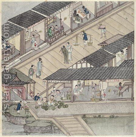 View of a Market in China by Anonymous Artist - Reproduction Oil Painting
