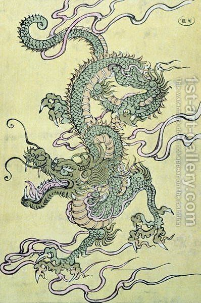 A Chinese Dragon by Anonymous Artist - Reproduction Oil Painting