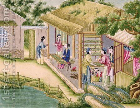 Learning about Silkworms, from a book on the silk industry by Anonymous Artist - Reproduction Oil Painting