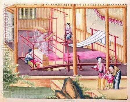 Weaving, from a book on the silk industry by Anonymous Artist - Reproduction Oil Painting
