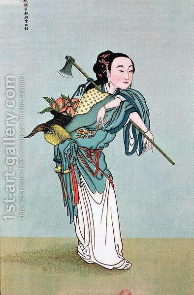 Ma Kou Carrying Medicinal Plants by Anonymous Artist - Reproduction Oil Painting