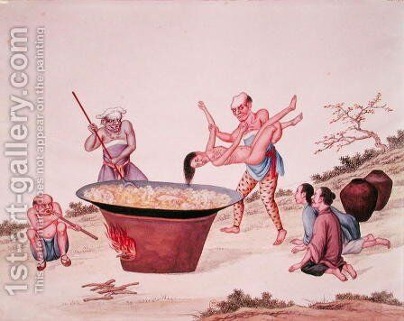 Plunging a woman into boiling water by Anonymous Artist - Reproduction Oil Painting