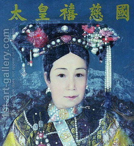 Portrait of the Empress Dowager Cixi (1835-1908) by Anonymous Artist - Reproduction Oil Painting