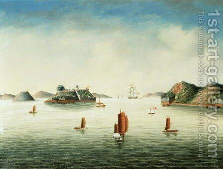 View of Canton area, c.1850 by Anonymous Artist - Reproduction Oil Painting