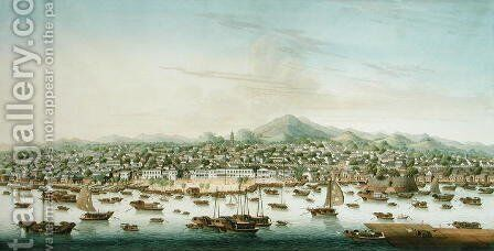 View of Canton, c.1800 by Anonymous Artist - Reproduction Oil Painting