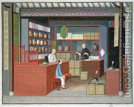 Ming-Tang Tea Store dealing fragrant Tenderleaf Tea by Anonymous Artist - Reproduction Oil Painting