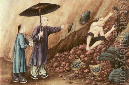 Searching for Iron Ore by Anonymous Artist - Reproduction Oil Painting