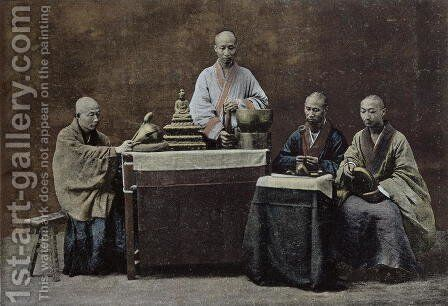 A group of Chinese bonzes by Anonymous Artist - Reproduction Oil Painting