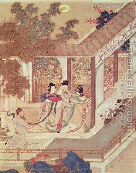 A romantic meeting, illustration from a traditional Chinese novel by Anonymous Artist - Reproduction Oil Painting