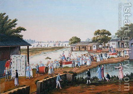 Procession during a festival in China celebrating a good harvest by Anonymous Artist - Reproduction Oil Painting
