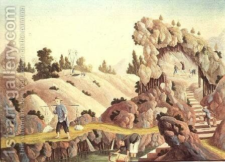 Peasants quarrying and collecting kaolin for a porcelain factory by Anonymous Artist - Reproduction Oil Painting