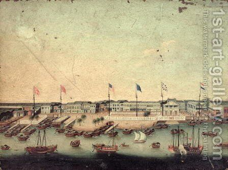View of the Hongs at Canton with the Danish, Austrian, American, Swedish, British and Dutch factories by Anonymous Artist - Reproduction Oil Painting