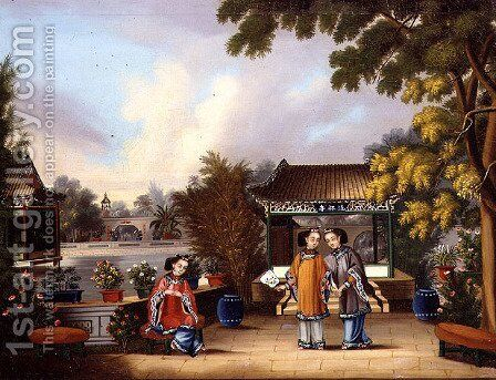 A Hong merchant's garden, Canton, with three Chinese ladies, c.1850 by Anonymous Artist - Reproduction Oil Painting